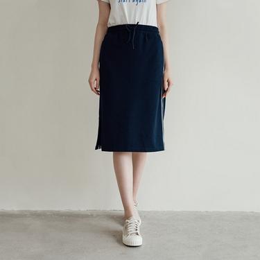 女裝抽繩條紋織帶針織裙