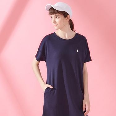 女裝企鵝刺繡織帶短袖連身裙