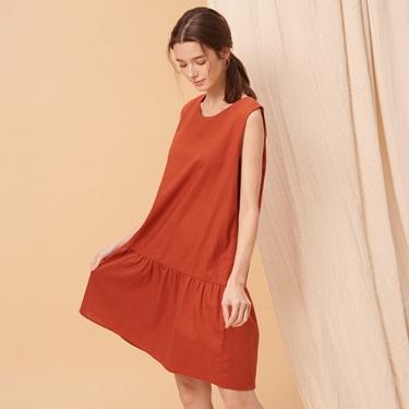 女裝自然棉麻系列無袖連身裙