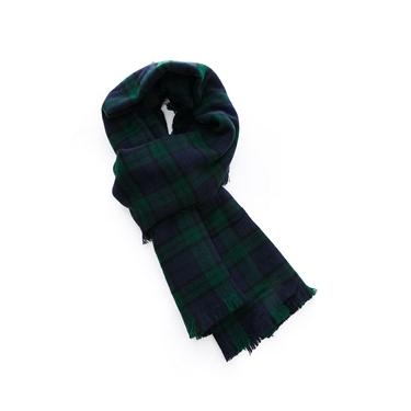 女裝格紋毛邊圍巾